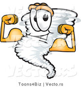 Vector of a Muscular Cartoon Tornado Mascot Flexing Strong Muscles by Toons4Biz