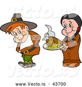 Vector of a Native American Cartoon Woman Offering a Pilgrim Thanksgiving Turkey and Corn by LaffToon