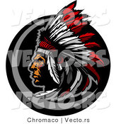 Vector of a Native American Chief Wearing Feather Headdress by Chromaco