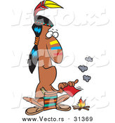 Vector of a Native American Indian Man Fanning Flames of a Campfire with a Memo - Cartoon Style by Ron Leishman
