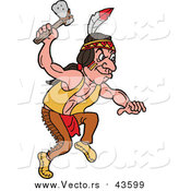 Vector of a Native American Indian Man with an Axe by LaffToon