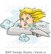 Vector of a Nauseated Cartoon Girl Vomiting on an Airplane Flight by BNP Design Studio