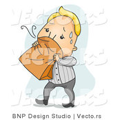 Vector of a Nauseated Cartoon Man Breathing into a Paper Bag by BNP Design Studio