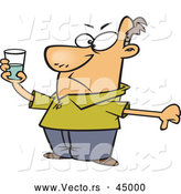 Vector of a Negative Cartoon Man Holding Glass Half Full of Water by Toonaday