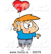Vector of a Nervous Cartoon Boy Floating up with a Love Heart Balloon by Toonaday