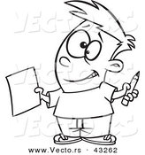 Vector of a Nervous Cartoon Boy Holding out a Sheet of Paper and a Pencil - Coloring Page Outline by Toonaday