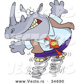 Vector of a Nervous Cartoon Business Rhino Jumping on Springs by Ron Leishman