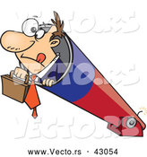 Vector of a Nervous Cartoon Businessman Preparing to Shoot out of a Cannon by Toonaday