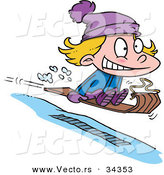 Vector of a Nervous Cartoon Girl Going Airborne While Snow Sledding by Toonaday