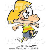 Vector of a Nervous Cartoon Girl Running on a Track by Ron Leishman