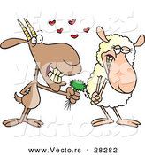 Vector of a Nervous Cartoon Goat Giving a Pretty Sheep Organic Grass Clippings with Love Hearts by Toonaday