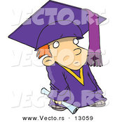 Vector of a Nervous Cartoon Graduate Boy by Toonaday