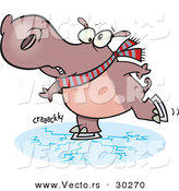 Vector of a Nervous Cartoon Hippo Skating on Thin Ice by Toonaday