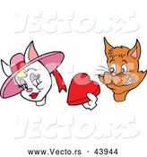 Vector of a Nervous Cartoon Male Cat Offering Love Heart Candy Box to a Female by LaffToon