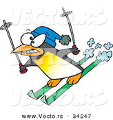 Vector of a Nervous Cartoon Penguin Snow Skiing by Toonaday
