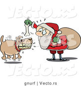 Vector of a Nervous Cartoon Santa Trying to Bait a Vicious Dog with a Bone by Gnurf