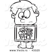 Vector of a Nervouse Cartoon Boy Holding X-ray Showing Swallowed Items in His Stomach - Coloring Page Outline by Toonaday