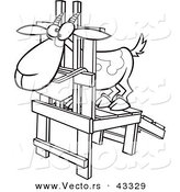 Vector of a Nervouse Cartoon Goat Standing in a Milk Stand - Coloring Page Outline by Toonaday
