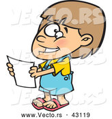 Vector of a Nervously Smiling Cartoon Girl Holding a Blank Report by Toonaday