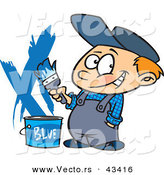 Vector of a Nervously Smiling Cartoon Painter Boy with a Bucket of Blue Paint by Toonaday