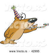 Vector of a New Year Cartoon Party Bear Blowing a Noise Maker by Ron Leishman