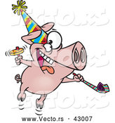 Vector of a New Year Cartoon Party Pig Celebrating with Noise Makers by Toonaday