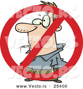 Vector of a No Smoking Symbol over Cartoon Man Smoking Cigarette by Toonaday