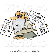 Vector of a Old Cartoon Hermit Man Carrying 3 Signs by Toonaday