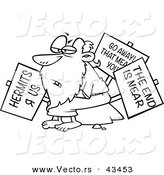 Vector of a Old Cartoon Hermit Man Holding Signs - Coloring Page Outline by Ron Leishman