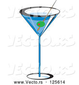 Vector of a Olive Garnish in Blue Martini Alcohol Beverage by Erikalchan