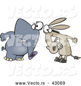 Vector of a Opposing Cartoon Democratic Donkey and Republican Elephant Staring at Each Other by Toonaday