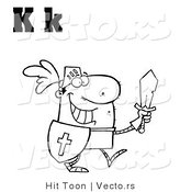 Vector of a Outlined Knight with Alphabet Letters K by Hit Toon