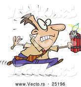 Vector of a Panicking Cartoon Businessman Running with Ticking Dynamite by Toonaday