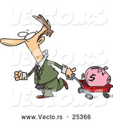 Vector of a Panicking Cartoon Businessman Transporting His Piggy Bank with a Wagon by Toonaday