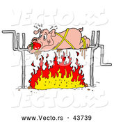 Vector of a Panicking Cartoon Pig Roasting over a Fire by LaffToon