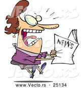 Vector of a Paranoid Cartoon Woman Reading News That Is Shocking by Ron Leishman