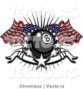 Vector of a Patriotic Eight Ball American Flags, Stars and a Banner by Chromaco