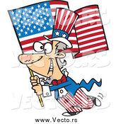 Vector of a Patriotic Uncle Sam Carrying an American Flag by Toonaday