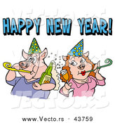 Vector of a Pig Couple in Party Hats, Getting Drunk and Blowing Noise Makers Under a Happy New Year Greeting by LaffToon