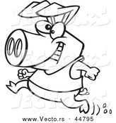 Vector of a Pig Running with a Smile - Outlined Cartoon Version by Toonaday