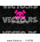 Vector of a Pink Girly Love Heart Eye Socket Skull and Crossbones over a Gray Ribbon Banner on Silhouetted Branches by Pushkin
