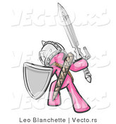 Vector of a Pink Knight with Shield and Sword Standing in Battle Mode by Leo Blanchette