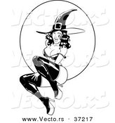Vector of a Pin-Up Girl Witch in Front of Full Moon - Black and White Line Art by Lawrence Christmas Illustration