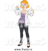 Vector of a Pinup White Female Chemist by BNP Design Studio