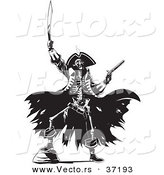 Vector of a Pirate Skeleton Raising Hell with a Sword and Revolver - Black and White Line Art by Lawrence Christmas Illustration