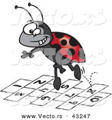Vector of a Playful Cartoon Ladybug Jumping on Hopscotch Numbers by Toonaday