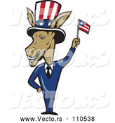 Vector of a Politician Cartoon Democratic Donkey in a Suit, Waving an American Flag by Patrimonio