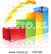 Vector of a Positive 3d Colored Bar Graph and Arrow by Cidepix