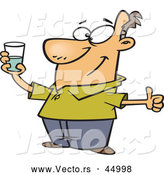 Vector of a Positive Cartoon Man Holding Glass Half Full of Water by Toonaday