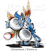 Vector of a Powerful Baseball Pitching Machine with Flames by Chromaco